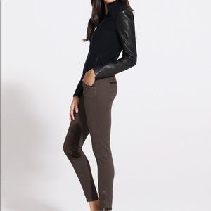 jbrand chocolate skinny jeans with velvet patches